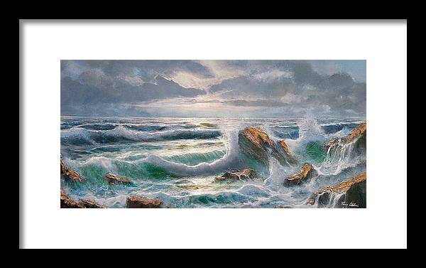 Painting Framed Print featuring the painting Big Seastorm - Italy by Remo Aldini