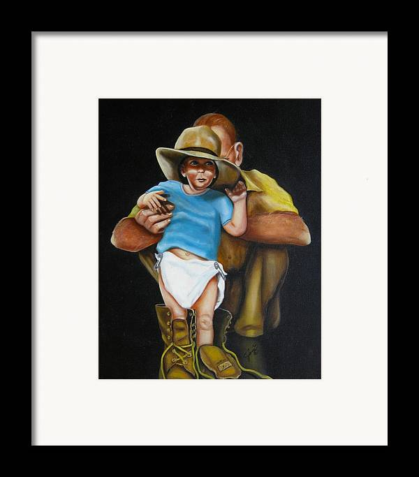 Potraits Framed Print featuring the painting Big Shoes To Fill by Joni McPherson