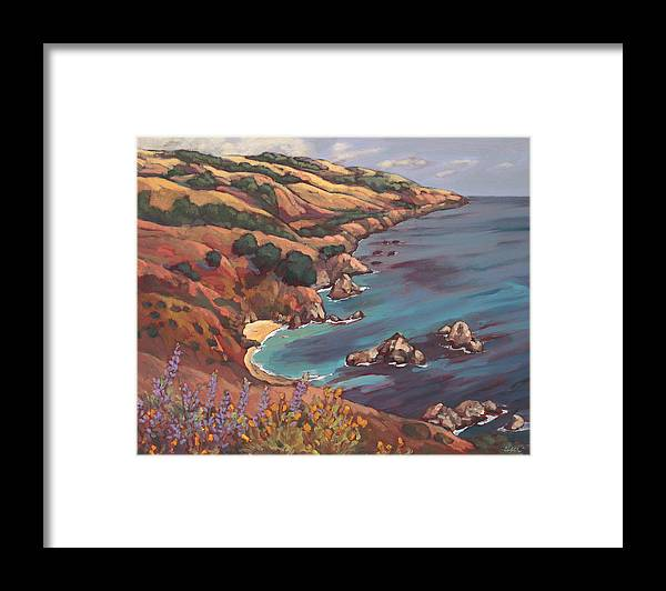 Ocean Framed Print featuring the painting Big Sur Coast by Peggy Olsen