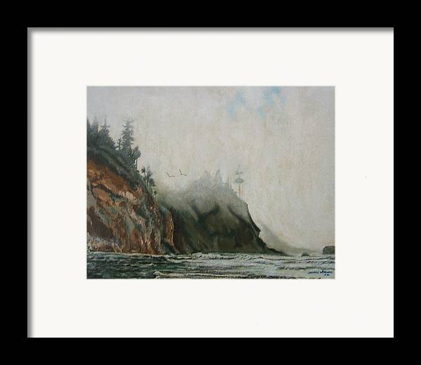 Fog Shrouded Mountains And Water Framed Print featuring the painting Big Sur by Howard Stroman