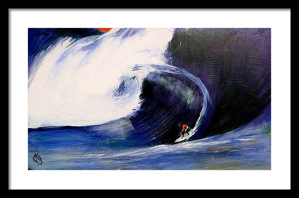 Surf Framed Print featuring the painting Big Tunnel Dharma by Paul Miller