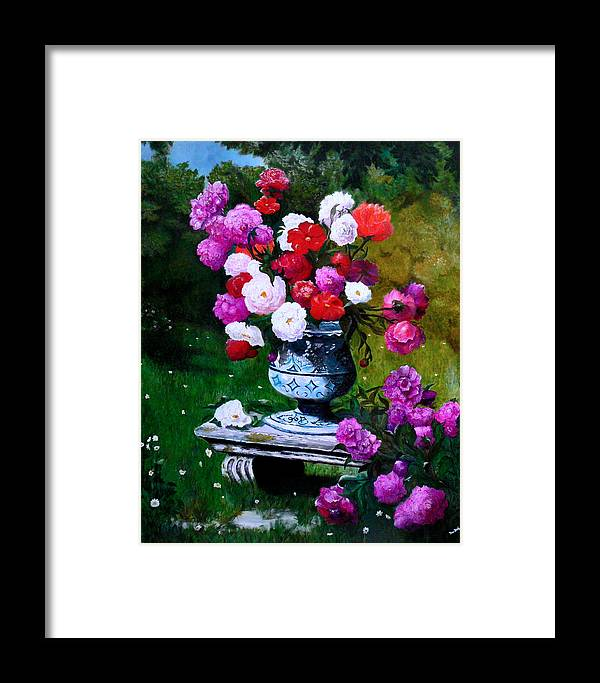 Stilllife Framed Print featuring the painting Big Vase With Peonies by Helmut Rottler