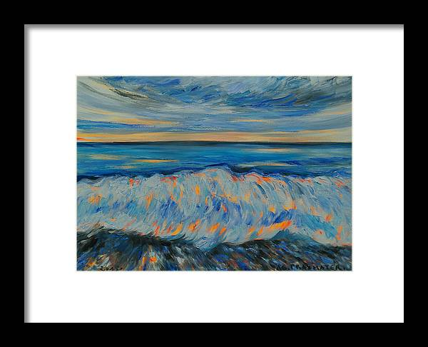 Wave Framed Print featuring the painting Big Wave After Storm by Agnieszka Praxmayer