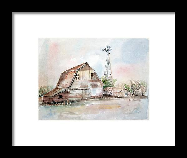 Barn Framed Print featuring the painting Bigelow's Barn by Arline Wagner