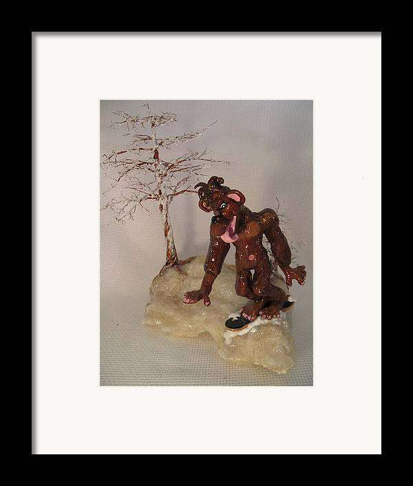 Metal Tree Framed Print featuring the sculpture Bigfoot On Crystal by Judy Byington