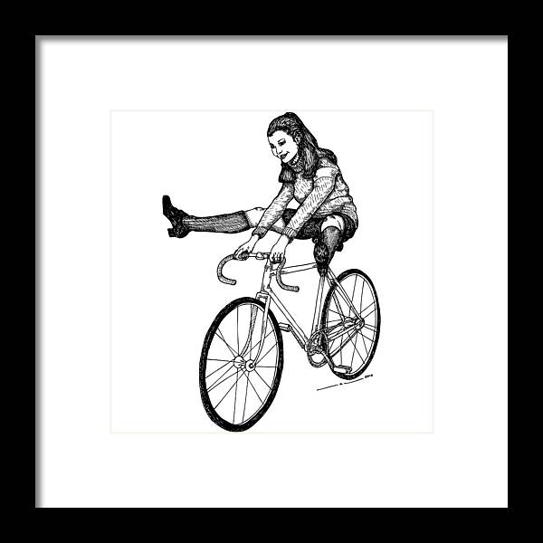 Drawing Framed Print featuring the drawing Bike Fun by Karl Addison
