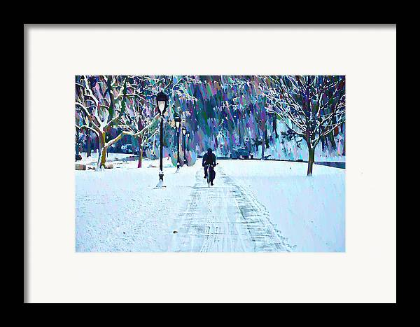 Bike Riding In The Snow Framed Print featuring the photograph Bike Riding In The Snow by Bill Cannon