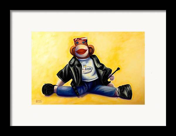 Sock Monkey Brown Framed Print featuring the painting Biker Dude Made Of Sockies by Shannon Grissom