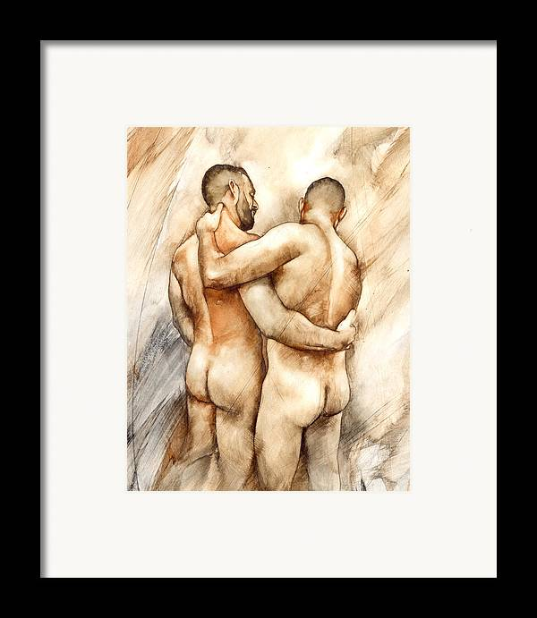 Male Nude Framed Print featuring the painting Bill And Mark by Chris Lopez