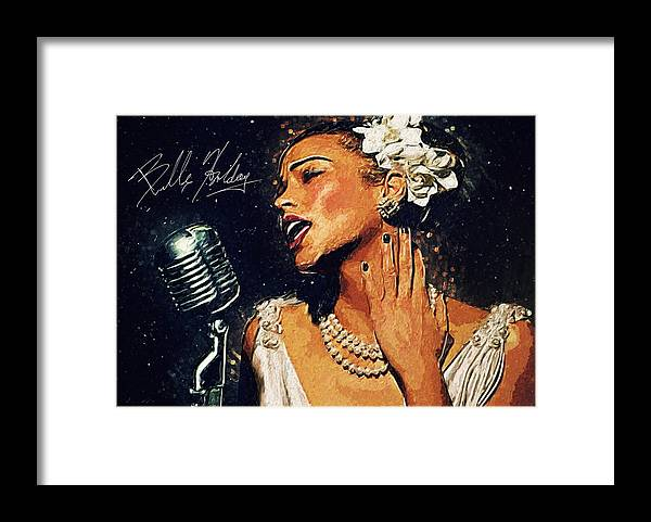 Billie Holiday Framed Print featuring the digital art Billie Holiday by Zapista Zapista