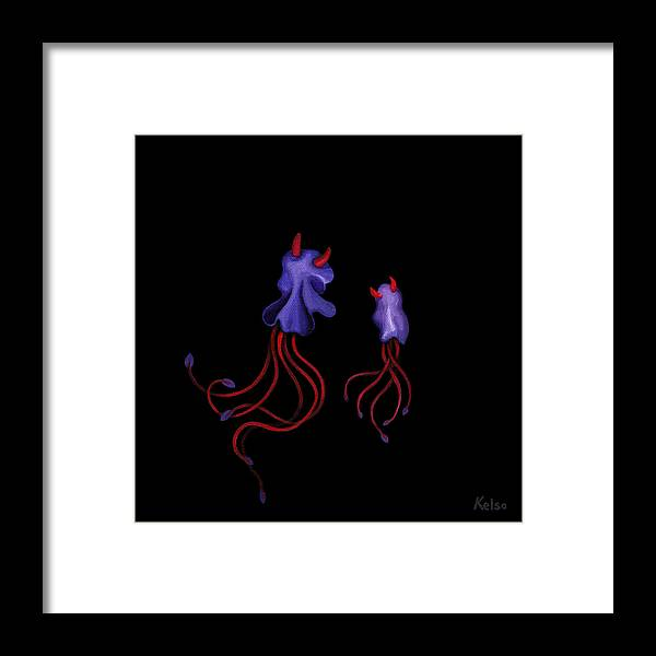 Bioluminescent Framed Print featuring the painting Bio-bulls by Bonnie Kelso