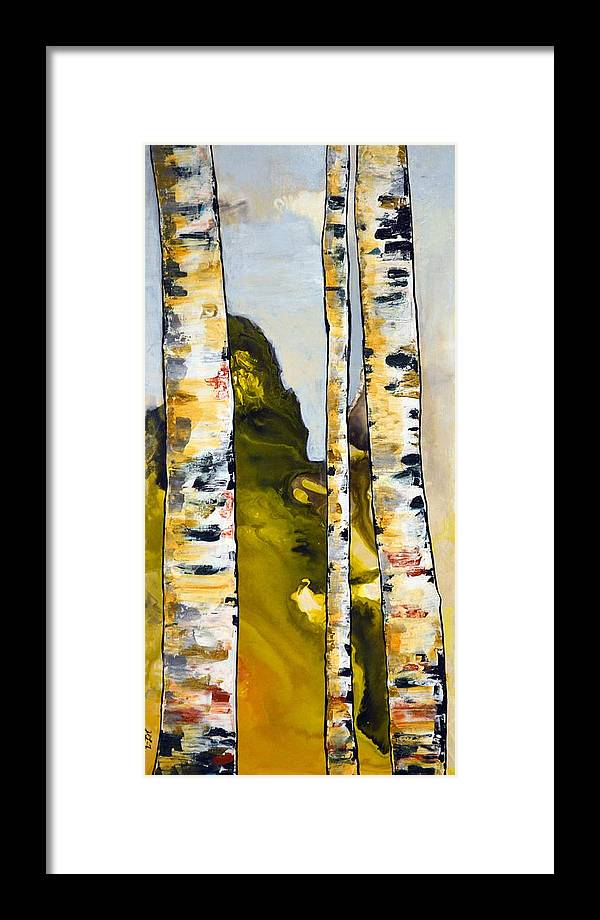 Abstract Framed Print featuring the painting Birch 1 by Heather Lovat-Fraser