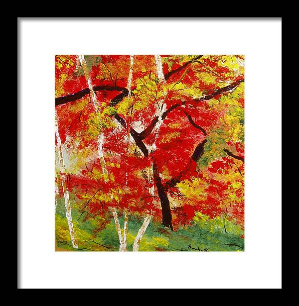 Landscape Framed Print featuring the painting Birch 2 by Maritza Bermudez