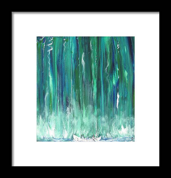Canoe Framed Print featuring the painting Birch Canoe At Waterfall by Gary Smith