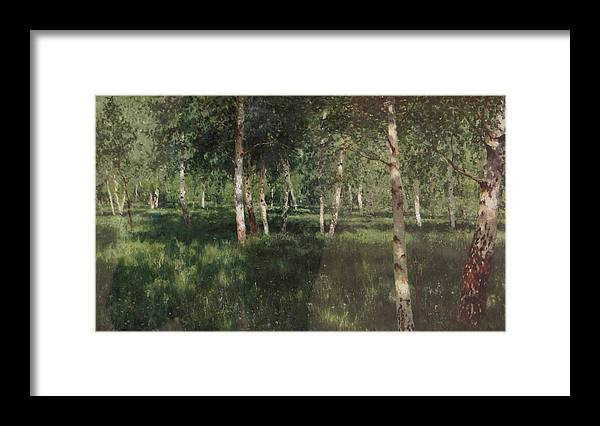 Isaac Levitan Framed Print featuring the painting Birch Grove by Isaac Levitan