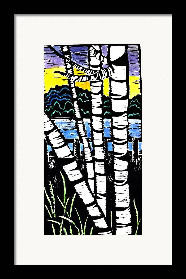 Birch Tree Framed Print featuring the painting Birch Lake by Jane Croteau