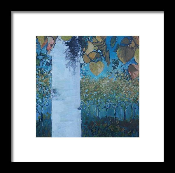 Birch Framed Print featuring the painting bIrCh LanE by Cindy Collins