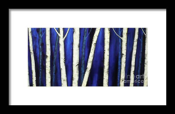 Birch Framed Print featuring the painting Birch Trees-3 by Monika Shepherdson