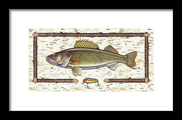 Walleye Framed Print featuring the painting Birch Walleye by JQ Licensing