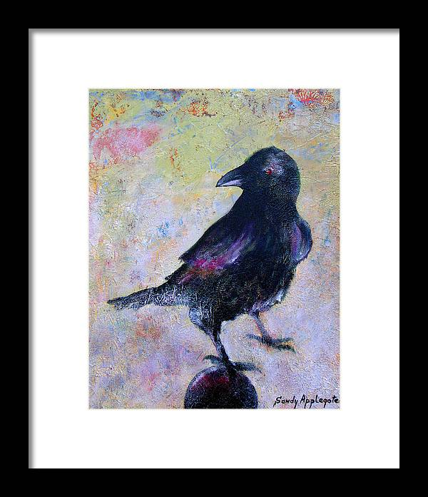 Raven Framed Print featuring the painting Bird Above His Chamber Door by Sandy Applegate
