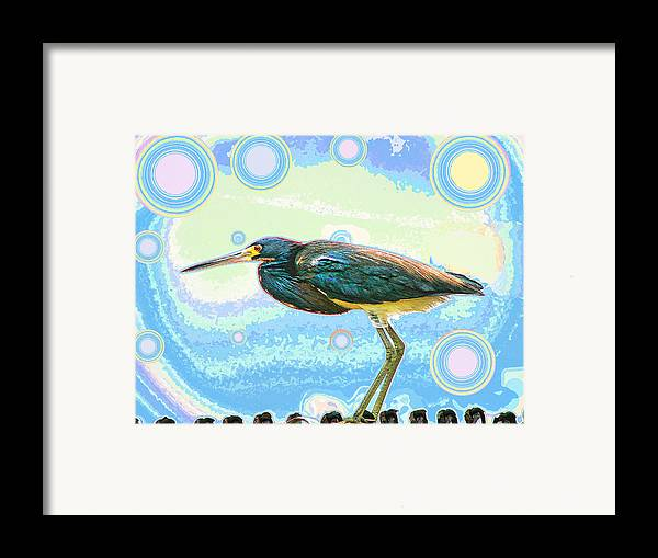 Bird Framed Print featuring the digital art Bird Contemplates The Cosmos by Wendy J St Christopher