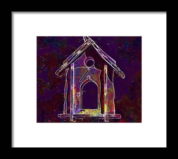 Bird Framed Print featuring the digital art Bird Feeder Colorful Feeding Wood by PixBreak Art
