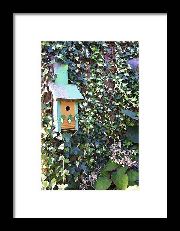 Bird Feeder Framed Print featuring the photograph Bird Feeder In Ivy by Melissa Hicks