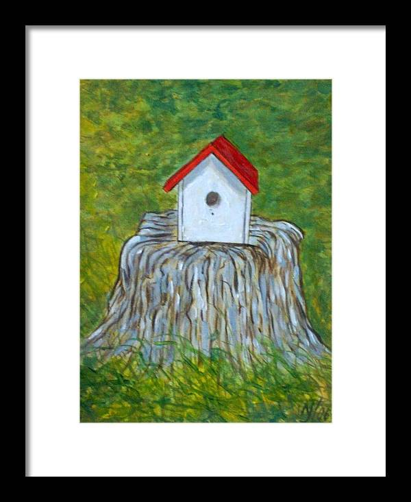 Birdhouse Framed Print featuring the painting Bird House by Norman F Jackson