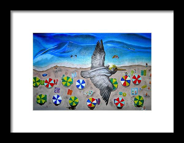 Pelican Framed Print featuring the painting Bird by Kathern Welsh