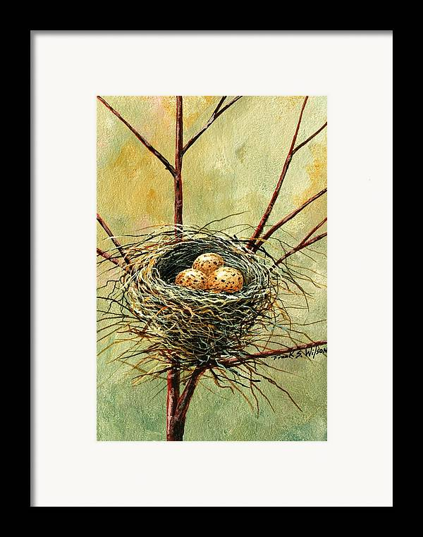 Still Life Framed Print featuring the painting Bird Nest by Frank Wilson