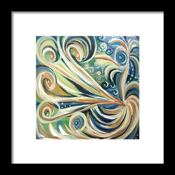 Abstract Framed Print featuring the painting Bird Of Paradise 5 by Gina De Gorna