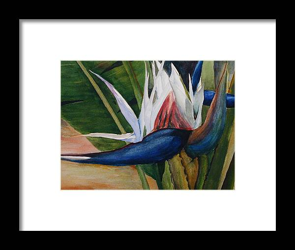 Flower Framed Print featuring the painting Bird Of Paradise by Dwight Williams