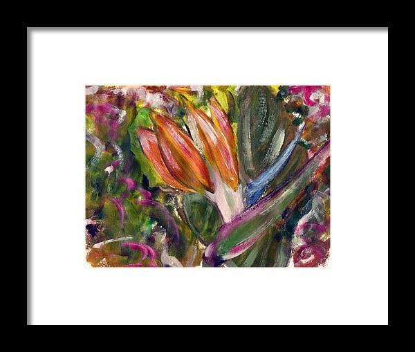 Flower Framed Print featuring the painting Bird of Paradise by Joseph Ferguson