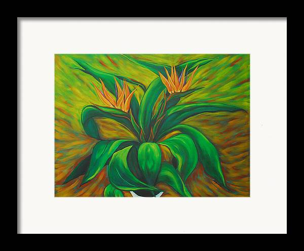 Contemporary Abstract Framed Print featuring the painting Bird Of Paradise by Marta Giraldo
