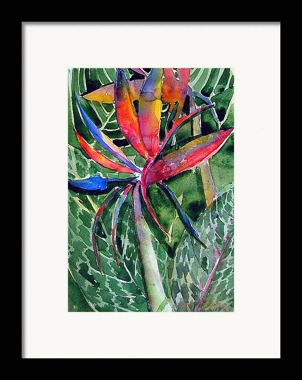 Floral Framed Print featuring the painting Bird Of Paradise by Mindy Newman