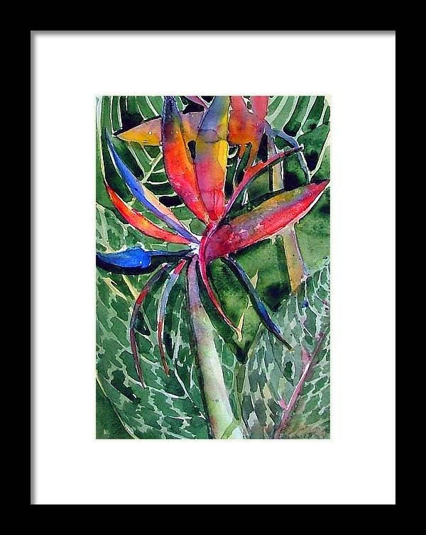 Floral Framed Print featuring the painting Bird From Paradise by Mindy Newman