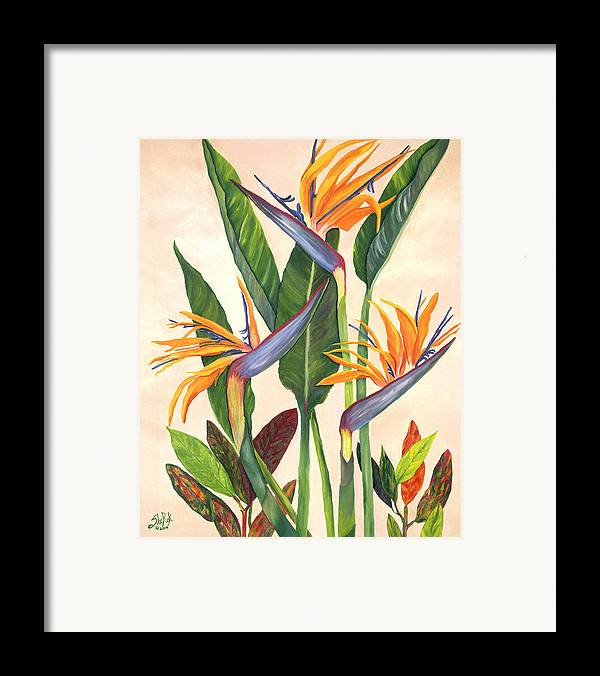 Floral Framed Print featuring the painting Bird Of Paradise by SheRok Williams