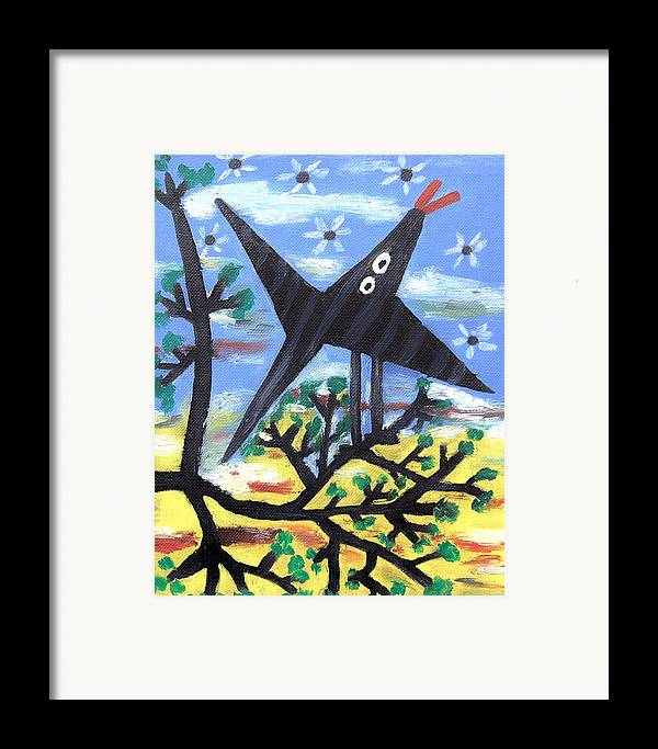 Abstract Framed Print featuring the painting Bird On A Tree After Picasso by Alexandra Jordankova
