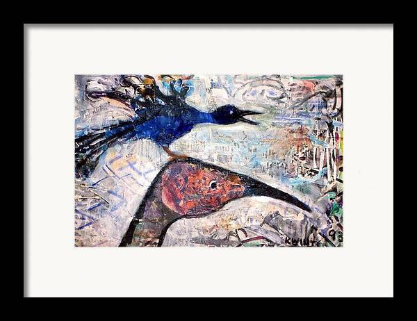Birds Framed Print featuring the mixed media Bird On Bird by Dave Kwinter