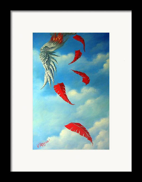 Surreal Framed Print featuring the painting Bird On Fire by Valerie Vescovi
