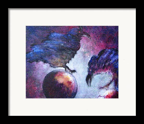 Raven Framed Print featuring the painting Bird Or Fiend by Sandy Applegate