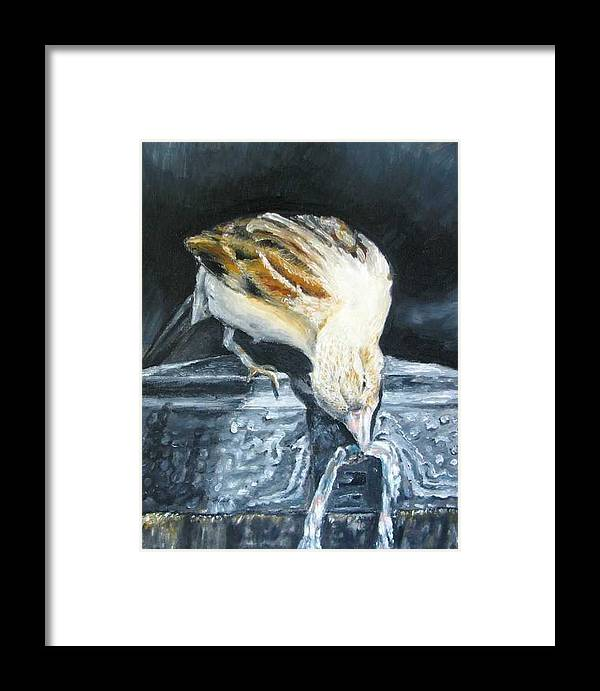 Oil Painting On Canvas Framed Print featuring the painting Bird Original Oil Painting by Natalja Picugina
