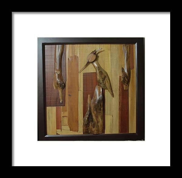 Framed Print featuring the painting Bird Painting With Wooden Waste by Pooja Shirke