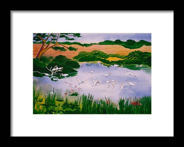 Landscape Framed Print featuring the painting Bird Pond by Buster Dight