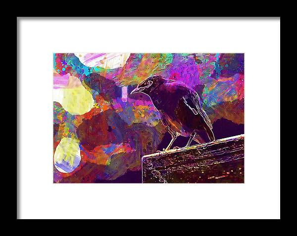 Bird Framed Print featuring the digital art Bird Rain Rest Animals by PixBreak Art