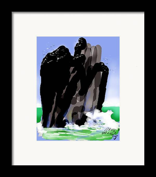 Seascape Framed Print featuring the painting Bird Rock Off Marin Headlands by Paul Miller