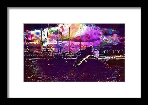 Bird Framed Print featuring the digital art Bird Seagull Ave Beach Wings Sky by PixBreak Art