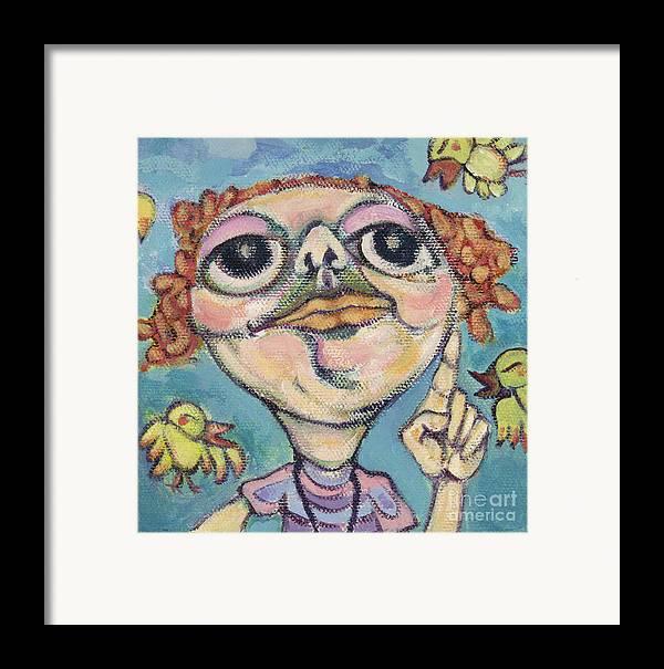 Bird Watcher Framed Print featuring the painting Bird Watcher by Michelle Spiziri