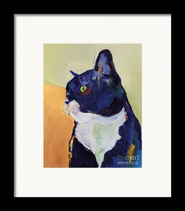 Cat Portrait Framed Print featuring the painting Bird Watcher by Pat Saunders-White