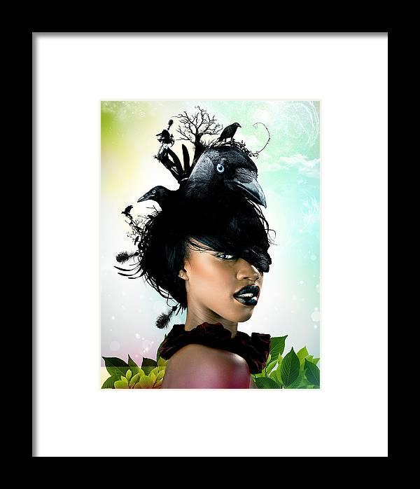 Crow Framed Print featuring the digital art Bird Women by Pedro Ferreira